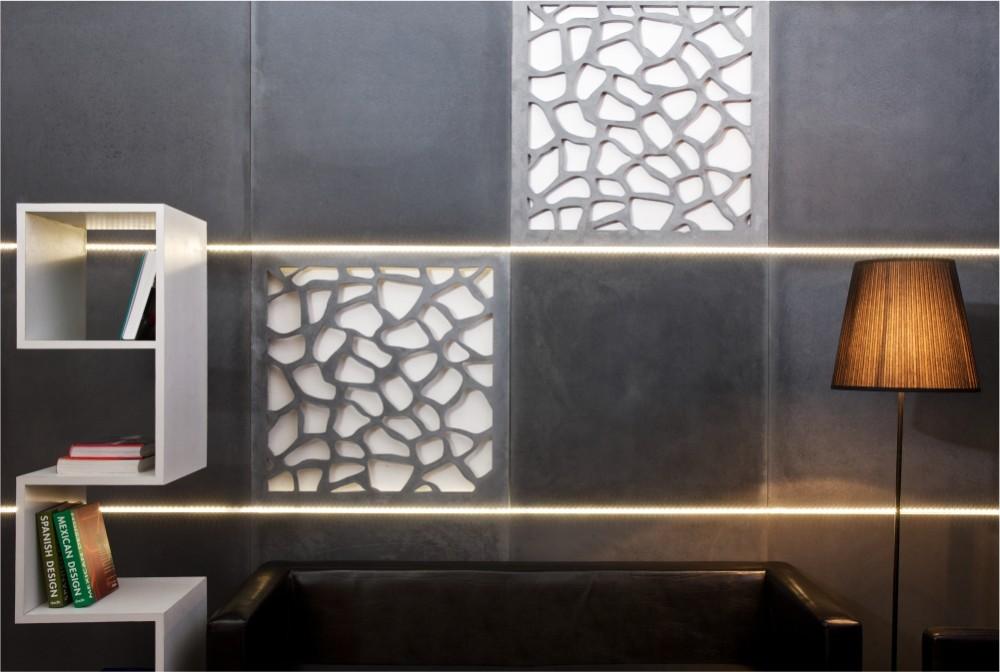 Płyta Slim i projekty specjalne - płyta ażurowa i regał/ Slim panels, special projects: openwork panels and bookshelf